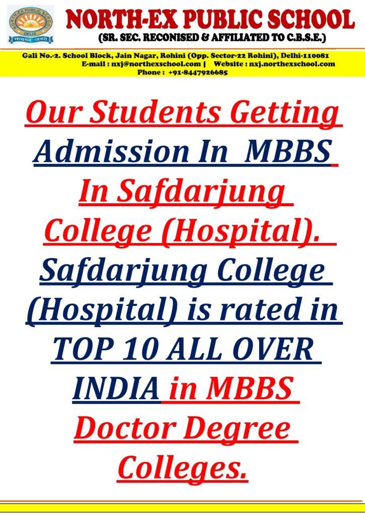 North-Ex Public School NEET - MBBS - Safdarjung Hospital